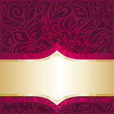 Floral red and gold  luxury vintage invitation design Stock Image