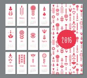 Floral red mini calendar 2016. Floral red geometric, flat calendar  holiday symbol Royalty Free Stock Photography