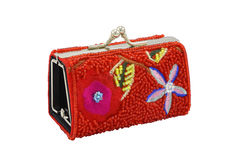 Floral red purse Royalty Free Stock Images