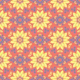 Floral red seamless pattern. Bright colored background with yellow and blue flower elements. For wallpapers, textile and fabrics Stock Photos