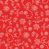 Floral red seamless pattern with graphic symbols Royalty Free Stock Photography