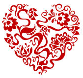 Floral red valentine heart. Vector illustration of floral red valentine heart isolated on white background vector illustration