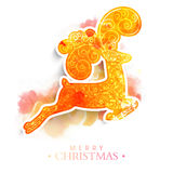 Floral reindeer for Merry Christmas celebration. Creative floral design decorated reindeer on colorful splash background for Merry Christmas celebration Royalty Free Stock Photography