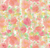 Floral repeat spring stripe  Watercolor oil painting textured seamless background. Roses and stripes seamless wallpaper Exploding blue  painterly textured Stock Image