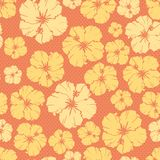 Floral  repeating pattern of a hibiscus flower. Royalty Free Stock Photography
