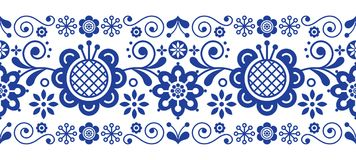 Scandinavian folk art retro vector long pattern, floral ornament in navy blue - seamless stripe stripe. Floral repetitive background with birds and flowers Stock Photography