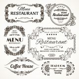 Floral restaurant labels Royalty Free Stock Photo