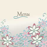 Floral Restaurant Menu  Design. Flower Pattern Cover Stock Image