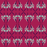 Floral Retro Abstract Pattern. A seamless pattern of a retro styled design on a dark pink background Vector Illustration