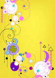 Floral retro background. Floral retro graphic with swirls, circles and dots on yellow background Stock Images