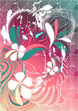 Floral retro background. Floral retro graphic with lines and flowers on pink background Stock Photo