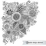 Floral retro doodle black and white pattern  in Stock Image