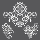 Floral retro lace vector pattern - Valentine`s Day, wedding celebration, openwork design with flowers and swirls royalty free illustration