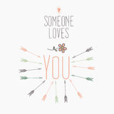 Floral retro love card with heart and arrows Stock Photo