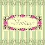 Floral retro seamless frame (roses) Stock Photo