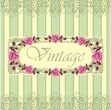 Floral retro seamless frame (roses) Stock Photo