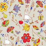 Floral retro seamless pattern with hare Stock Photos