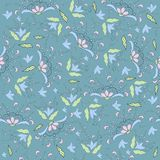 Floral retro wallpaper . Seamless background Stock Photos