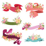 Floral Ribbon Banners Royalty Free Stock Photography