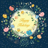 Floral ring in the moonlight. Happy holidays. Watercolor flowers. Floral ring. Happy holidays inscription. Black background. Yellow moon. Vector illustration Royalty Free Stock Photos