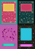 Floral romantic cards with banners for custom text stock photo