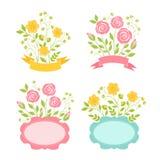 Floral romantic frames set Stock Image