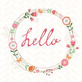 Floral romatic concept hello card with wreath Stock Photography