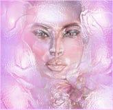 Floral rosado abstracto con la cara de la mujer imágenes de archivo libres de regalías