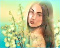 Floral rose abstrait avec le visage de la femme. Image libre de droits