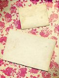 Floral Rose Background With Vintage Cards Stock Images
