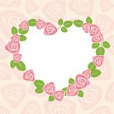 Floral rose card for wedding or valentine. Royalty Free Stock Image
