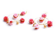 Floral rose earrings Royalty Free Stock Images