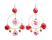 Floral rose earrings Royalty Free Stock Image