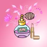 Floral rose parfum. Vektor floral rose parfum golden lipstick Stock Images