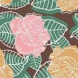 Floral rose seamless pattern in retro style Stock Photo