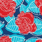 Floral rose seamless pattern in retro style Royalty Free Stock Photography