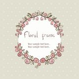 Floral rose wreath frame for text Stock Image