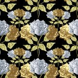 Floral roses seamless pattern. Vector flowers background. 3d white and gold roses Royalty Free Stock Image