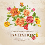 Floral Roses Vintage Card Royalty Free Stock Images