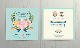 Floral roses wreath wedding cartoon bride and groom couple invitation card Stock Image