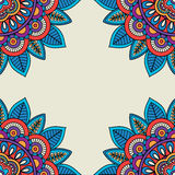 Floral rosettes doodle hand drawn frame Royalty Free Stock Photography