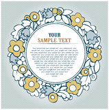 Floral round background. In gold Stock Images