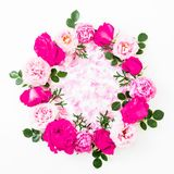 Floral round composition with pink roses flowers on white background. Flat lay, Top view. Flower texture. Floral round composition with pink roses flowers on royalty free stock photo
