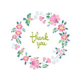 Floral round embroidery frame. With space for text or calligraphy. Beautiful template for greeting or invitation cards. Thank you, Birthday, Valentine`s day Stock Photos