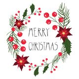 Floral round frame for Christmas holiday cards with flowers and berries. vector illustration