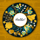 Floral round frame. Hand drawn flowers around circle. Colorful background with blossom Royalty Free Stock Images