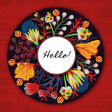Floral round frame. Hand drawn flowers around circle. Colorful background with blossom Stock Photography