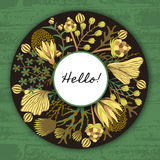 Floral round frame. Hand drawn flowers around circle. Colorful background with blossom Stock Photos