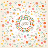 Floral round frame Stock Photography