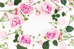 Floral round frame with roses flowers isolated on white background. Flat lay, top view. Valentines day concept stock images